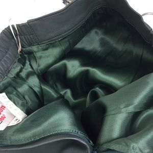 Vintage Skirts - Vintage high waisted dark green leather skirt